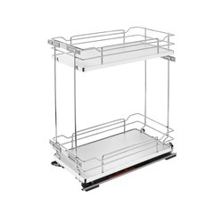 Two Tier Base Organizer with Soft Close 11 inch Chrome/Gray