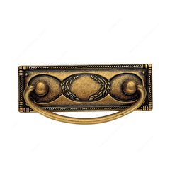 Art Deco 2-1/2 Inch Center to Center Floral Brass Cabinet Bail Pull <small>(#06323167)</small>