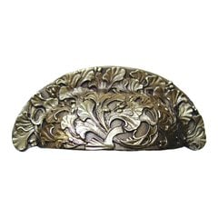 Floral 3 Inch Center to Center Antique Brass Cabinet Cup Pull