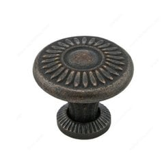 Traditional Cast Iron 1-1/4 Inch Diameter Florentine Bronze Cabinet Knob