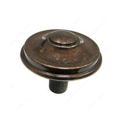 Povera 1-5/16 Inch Diameter Shiny Spotted Bronze Cabinet Knob <small>(#613433148)</small>
