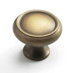 Solid Brass Traditional Designs 1-1/4 Inch Diameter Antique Light Brass Cabinet Knob <small>(#711-ALB)</small>