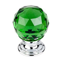 Crystal 1-1/8 Inch Diameter Green Crystal Cabinet Knob <small>(#TK119PC)</small>