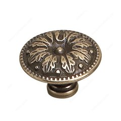 Louis XV 1-1/4 Inch Diameter Burnished Brass Cabinet Knob