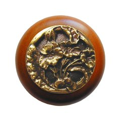 Floral 1-1/2 Inch Diameter Antique Brass Cabinet Knob <small>(#NHW-704C-AB)</small>