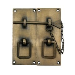 Two-Piece Rectangular Latch with Handle 4 inch L - Antique Brass