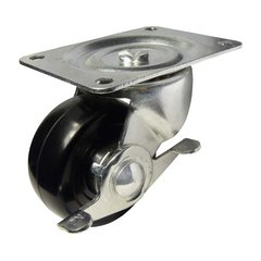 Rubber Caster With Swivel & Brake - Black