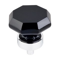 Crystal 1-3/8 Inch Diameter Black Crystal Cabinet Knob <small>(#TK137PC)</small>