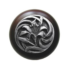 Floral 1-1/2 Inch Diameter Antique Pewter Cabinet Knob <small>(#NHW-703W-AP)</small>