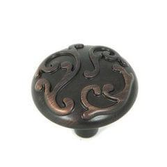 Meadow Brook 1-1/8 Inch Diameter Oil Rubbed Bronze Cabinet Knob
