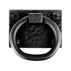 Smooth Iron 1-3/8 Inch Diameter Black Iron Cabinet Ring Pull <small>(#APABP)</small>