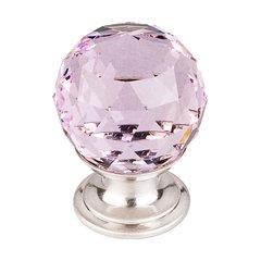 Crystal 1-1/8 Inch Diameter Pink Crystal Cabinet Knob <small>(#TK117BSN)</small>