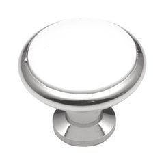 Tranquility 1-3/8 Inch Diameter White Porcelain with Chrome Cabinet Knob <small>(#P427-26W)</small>