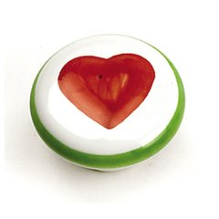 Porcelain Knobs 1-3/8 Inch Diameter White With Red Heart Cabinet Knob <small>(#01846)</small>