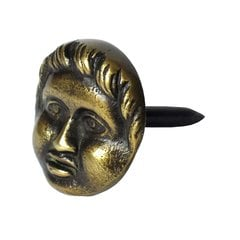 Round Clavo with Cherub Face 1-3/16 inch Diameter - Antique Brass <small>(#HCL1256)</small>