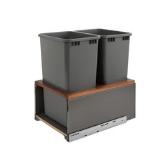 Legrabox Double Trash Pullout 50 Quart Walnut/Gray