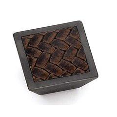 Churchill 1-5/8 Inch Diameter Oil Rubbed Bronze/Brown Leather Cabinet Knob <small>(#12291)</small>