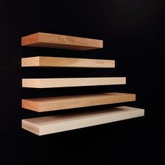48 inch Long Floating Shelf System Unfinished Red Oak