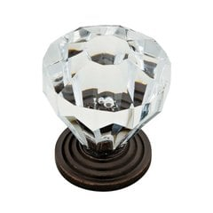 Design Facets 1-1/4 Inch Diameter Statuary Bronze & Clear Cabinet Knob
