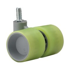 Dual Wheel Caster With Swivel - Lime Green