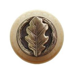 Leaves 1-1/2 Inch Diameter Antique Brass Cabinet Knob <small>(#NHW-744N-AB)</small>