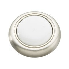 Tranquility 1-1/4 Inch Diameter Satin Nickel with White Cabinet Knob