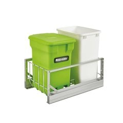 5349 Double Pullout Compost Container Green/White/Aluminum