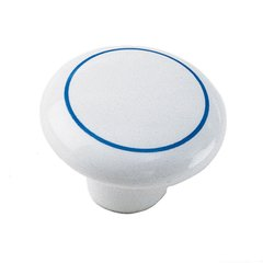 White Porcelain 1-1/2 Inch Diameter White With Blue Ring Cabinet Knob