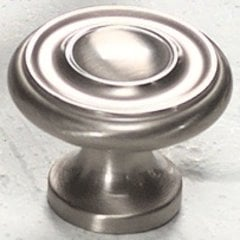 Solid Brass Traditional Designs 1-1/4 Inch Diameter Satin Nickel Cabinet Knob