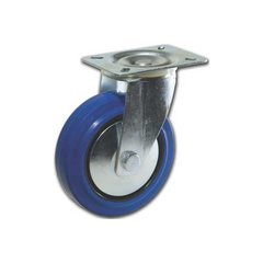 Elastic Rubber Wheel Caster with Swivel - Blue