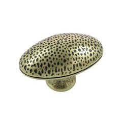 Hammered 2 Inch Diameter Antique Brass Cabinet Knob