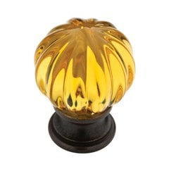 Design Facets 1-1/4 Inch Diameter Statuary Bronze & Amber Cabinet Knob