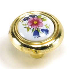 First Family 1-1/4 Inch Diameter Flowers/Polished Brass Cabinet Knob <small>(#15431)</small>