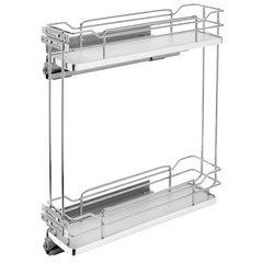 Two Tier Base Organizer with Soft Close 9 inch Chrome/Gray