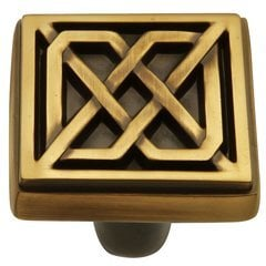 Celtic Square Knob 1-1/4 inch Diameter Winchester Brass Finish