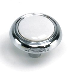 First Family 1-1/4 Inch Diameter White/Polished Chrome Cabinet Knob <small>(#15427)</small>