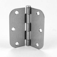 5/8 inch Radius Door Hinge 3-1/2 inch x 3-1/2 inch Satin Nickel