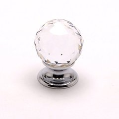 Europa 1-3/16 Inch Diameter Faceted Crystal Ball/Chrome Cabinet Knob <small>(#7042-926-C)</small>