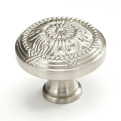 Versailles Forged Solid Brass 1-1/2 Inch Diameter Satin Nickel Cabinet Knob <small>(#752-15)</small>