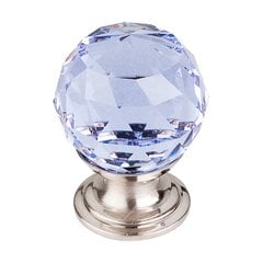 Crystal 1-1/8 Inch Diameter Light Blue Crystal Cabinet Knob <small>(#TK113BSN)</small>