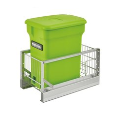 5349 Single Pullout Compost Container Green/Aluminum