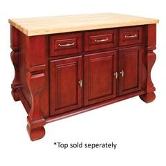 "53"" Tuscan Kitchen Island w/o Top - Brilliant Red"