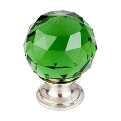 Crystal 1-3/8 Inch Diameter Green Crystal Cabinet Knob
