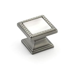 "Kingsway Square Knob 1-1/4"" Dia Antique Nickel/Champagne"