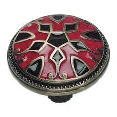 Canterbury 1-1/2 Inch Diameter Red And Black Cabinet Knob