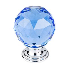 Crystal 1-3/8 Inch Diameter Blue Crystal Cabinet Knob <small>(#TK124PC)</small>