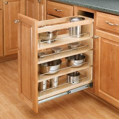 Bon Rev A Shelf 3 Tier Pull Out Base Organizer 5 Inch Wood
