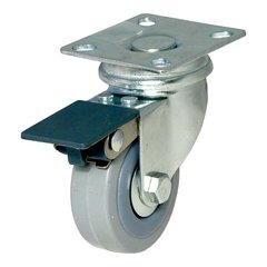 Rubber Caster with Swivel and Brake - Grey