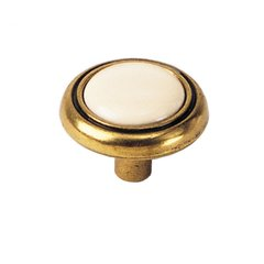 First Family 1-1/4 Inch Diameter Almond/Antique Brass Cabinet Knob