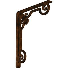 "Fleur-de-lis 1.5""W x 12""D x 15""H Countertop Bracket - Iron/Steel Antiqued Bronze"